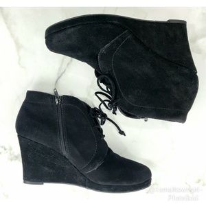 Dolce Vita lace-up wedge booties black 9 1/2